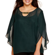 Alyx® Solid Roundneck Top with Tulip Sleeves and Necklace - Plus
