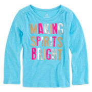 Okie Dokie® Long-Sleeve Glitter Tee - Toddler Girls 2t-5t