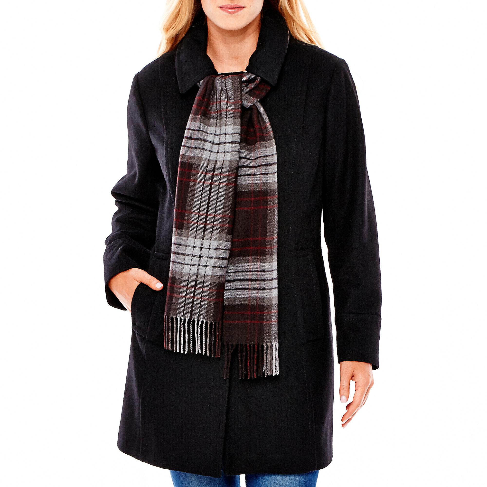 St. John's Bay Wool-Blend Scarf Coat - Plus