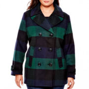 St. John's Bay® Wool-Blend Pea Coat - Plus