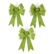 Glitter Brights Set of 3 Glitter Bow Ornaments