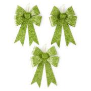 Glitter Brights Set of 3 Glitter Bow Ornaments