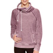 Reebok® Burnout Fleece Cowlneck Yoga Pullover