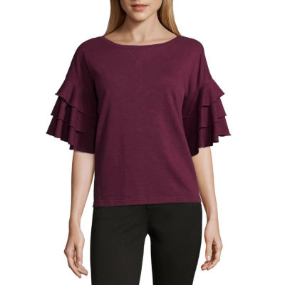 Ana Short Sleeve Round Neck Blouse Jcpenney