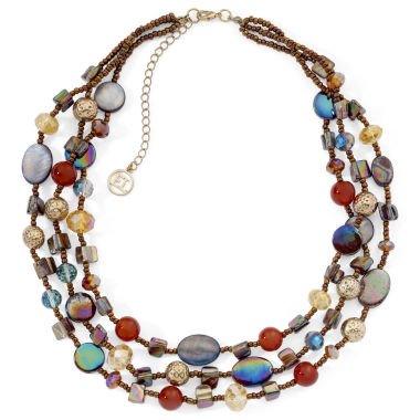 jcpenney.com | Multi-Bead Triple-Row Illusion Necklace