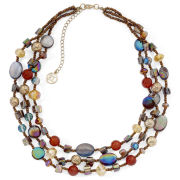 Multi-Bead Triple-Row Illusion Necklace