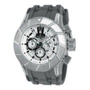 Invicta® Pro Diver Mens Silver-Tone Gray Rubber Strap Watch