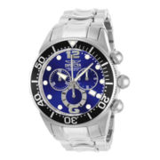 Invicta® Lupah Mens Silver-Tone Blue Dial Chronograph Dive Watch
