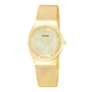 jcpenney.com | Pulsar® Womens Gold-Tone Crystal-Accent Mesh Watch PH8056