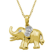 18K Gold Over Brass Diamond Accent Elephant Pendant