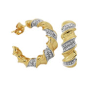 Classic Treasures™18K Gold Over Brass Diamond Accent Twist Hoop Earrings