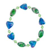 Blue & Green Glass Heart Bead Bracelet