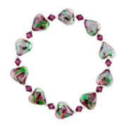Dark Pink & Green Glass Heart Bead Bracelet