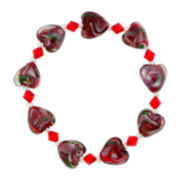 Red Glass Heart Bead Bracelet