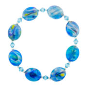 Faceted Blue Oval Glass Stretch Bracelet