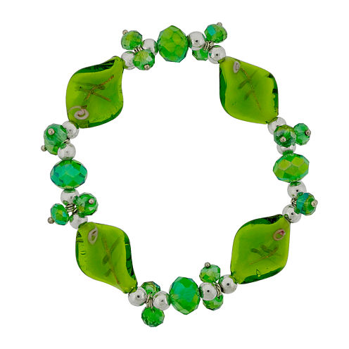 Dazzling Designs™ Green Artisan Glass Stretch Bracelet