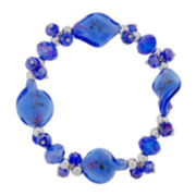 Blue Artisan Glass Stretch Bracelet