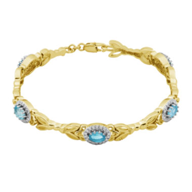 jcpenney.com | Classic Treasures™ 14K Gold Over Brass Blue Topaz Flower Bracelet