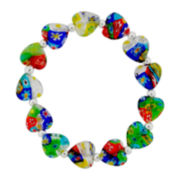 Multicolor Heart-Shape Faceted Glass Bead Stretch Bracelet