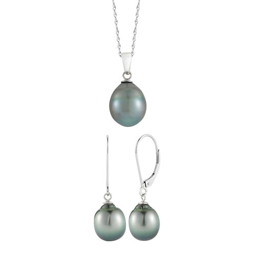 Black Tahitian Pearl Pendant Necklace & Earring Set