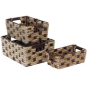 Baum-Essex 3-Piece Braided Rush/Natural Cord Storage Basket Set