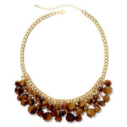 Mixit™ Gold-Tone Brown Two-Row Shaky Bib Necklace