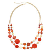 Mixit™ Gold-Tone Orange Two-Row Bib Necklace