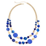 Mixit™ Gold-Tone Blue Two-Row Bib Necklace