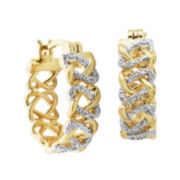Classic Treasures™ Diamond-Accent Basketweave Hoop Earrings