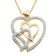 Classic Treasures™ Diamond-Accent Triple Heart Pendant Necklace