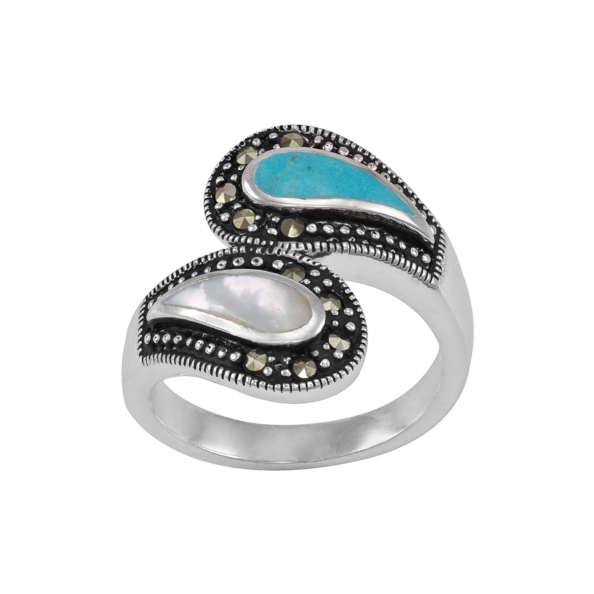 Simulated Turquoise and Mother-of-Pearl Bypass Ring