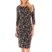 Black Label by Evan-Picone 3/4-Sleeve Scroll Print Dress