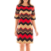 Perceptions 3/4-Sleeve Chevron Print Dress