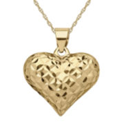 Infinite Gold™ 14K Yellow Gold Diamond-Cut Puff Pendant Necklace