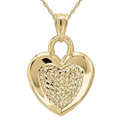 Infinite Gold™ 14K Yellow Gold Diamond-Cut Center Puff Pendant Necklace