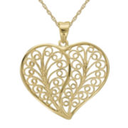 Infinite Gold™ 14K Yellow Gold Filigree Heart Pendant Necklace