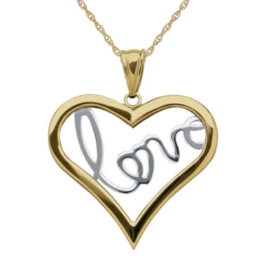 jcpenney.com | Infinite Gold™ 14K Two-Tone Gold Love Inside Heart Pendant Necklace
