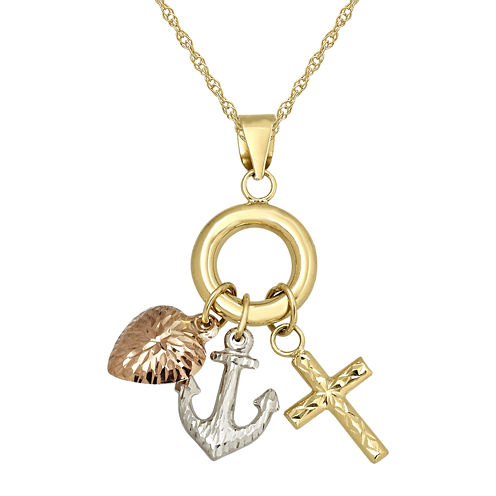 Infinite Gold™ 14K Tri-Tone Gold Faith, Hope, Charity Pendant Necklace
