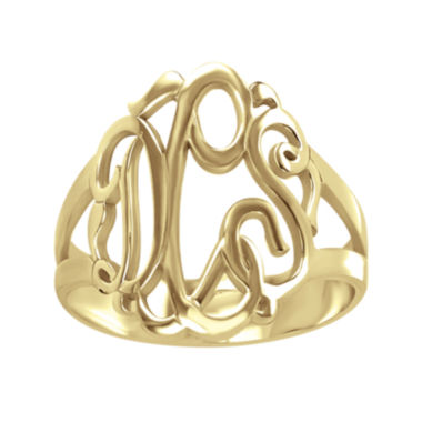 jcpenney.com | Personalized 14K Gold Over Sterling Silver Monogram Ring