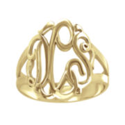 14K Gold Over Sterling Silver Monogram Ring
