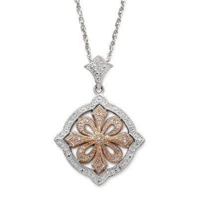 Vintage inspirations sterling silver14k rose gold diamond pendant vintage inspirations 15 ct tw diamond pendant necklace aloadofball Images