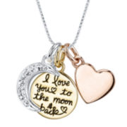 "Tri-Tone Metal & Crystal ""I Love You to the Moon"" Pendant Necklace"