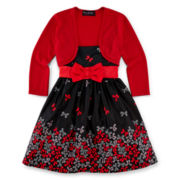 Disorderly Kids 2-pc. Bow Dress with Cardigan - Girls 2t-6