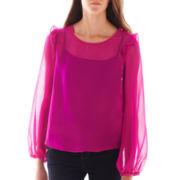 Olsenboye® Long-Sleeve Ruffle Chiffon Blouse