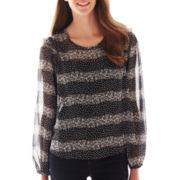 Olsenboye® Long-Sleeve Lace Print Blouse