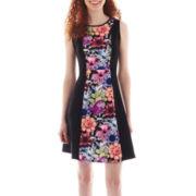 Olsenboye® Sleeveless Scuba Knit Fit-and-Flare Dress