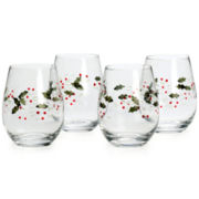 Pfaltzgraff® Winterberry Set of 4 Stemless Wine Glasses