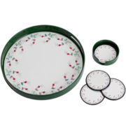 Pfaltzgraff® Winterberry 5-pc. Round Tray and Coaster Set