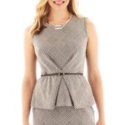 Liz Claiborne® Sleeveless Houndstooth Plaid Belted Peplum Top