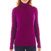 St. John's Bay® Long Sleeve Cable Turtleneck Sweater